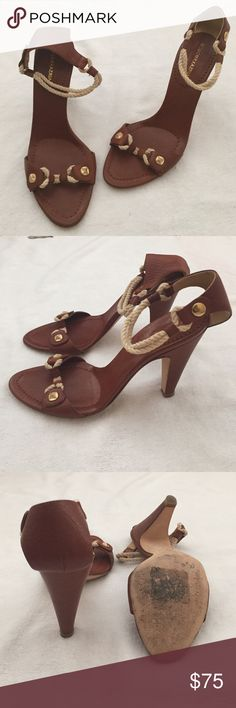BCBGMaxAzria Heels in Cognac, women's size 8. BCBGMaxAzria Heels with ankle strap details and gold accents. Women's size 8. These heels are in great used condition. BCBGMaxAzria Shoes Heels