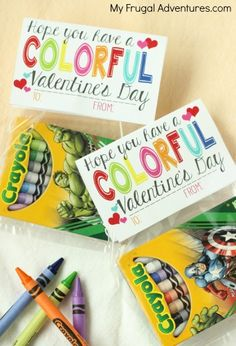 Free Printable Crayon Valentine gift for toddlers Printable Valentine: Have a Colorful Valentine's Day - My Frugal Adventures Kinder Valentines, Valentine Gifts For Kids, Valentines Day Treats, Valentine Day Crafts, Valentine Ideas, Valentine Box, Homemade Valentines, Valentine Wreath, Printable Valentine Cards