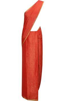 Metallic red linen sari with zari border by Anavila. Shop now:  http://www.perniaspopupshop.com/designers/anavila #sari #anavila #shopnow #perniaspopupshop