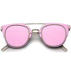 Minimal Wire Inner Rim Flat Color Mirror Lens Sunglasses A361 - Pink Gold Pink Mirror