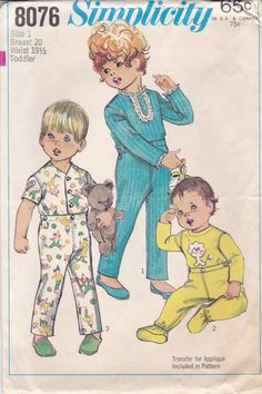 Toddlers' Pajama Pattern Simplicity 8076 Size 1 by OneMoreCupOfTea