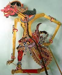 Cakil a stereotypical Buta who usually fights the hero and then dies, Sukoharjo Central Java, Wayang Kulit, Leather
