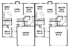 First Floor Plan of Ranch   Traditional   Multi-Family Plan 62626