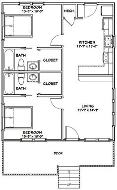 2 Bedroom Floor Plans, Small House Floor Plans, Garage House Plans, Barn House Plans, 2 Bedroom Apartment Floor Plan, Tiny House Layout, House Layouts, 900 Sq Ft House, House 2