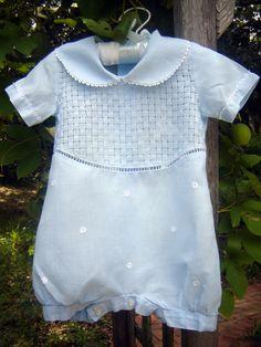 Beautiful baby blue linen drawn thread romper!