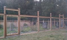 Love this #deer #fence! Notice the wires at the top to prevent deer from jumping in.  (Licensed Fence Contractor Eugene, OR | Fence Building Company Eugene, Oregon)