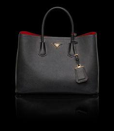 Prada Saffiano Cuir Double Bag in Black These and other bags on www. - Prada Saffiano Cuir Double Bag in Black These and other bags on www. Prada Purses, Prada Tote, Prada Handbags, Fashion Handbags, Tote Handbags, Purses And Handbags, Fashion Bags, Fashion Women, Fashion Jewelry