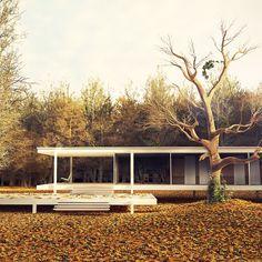 www.bauhaus-movement.com/designer/mies-van-der-rohe.html  Photo © davidgarraza.com  1945 erhielt Ludwig #Mies van der #Rohe von Dr. Edith #Farnsworth, einer wohlhabenden Chicagoer Ärztin, den Auftrag, ein Wochenendhaus zu entwerfen, in das sie sich zur Erholung und Ausübung ihrer Hobbys zurückziehen konnte.  Das Gebäude wurde in den Jahren 1950/1951 erstellt und ist heute ein bekanntes #Bauwerk der #modernen #Architektur.