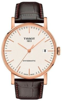 Montre Tissot T-Classic Everytime Swissmatic cadran argent bracelet cuir brun 40 mm Brown Leather Strap Watch, Dark Brown Leather, Cow Leather, Modern Watches, Watches For Men, Seiko, Tissot Mens Watch, Festina, Junghans