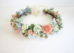 Flores corona, corona de flor de melocotón, Boho tocado, corona nupcial, boda, flores de la cabeza de melocotón boda Boho, boda Coral,…