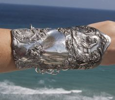 Art Nouveau Goddess Maiden Sterling Silver Cuff by CelebLuxe