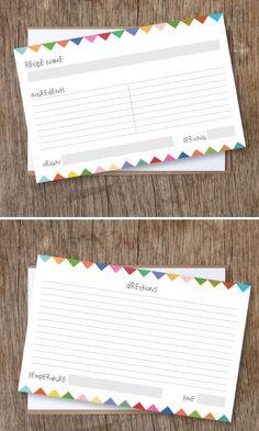 """Recipe Cards """"Bunting"""" Motif - Free PDF Printable."""
