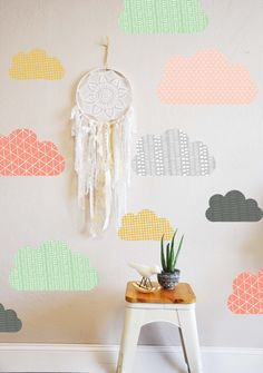 Geo Clouds - WALL DECAL 6 Clouds - 1- 22 W 3 -17 W 2 - 13 W (two sets of clouds are pictured in the coral clouds style photo) Perfect for a