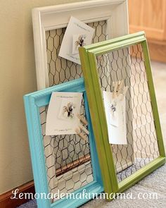 """Flip the frame aroundcover the exposed edges of the chicken wire wire upholstery gimp and then, shadow box style, tack a patterned fabric to the new """"back"""" of the frame."""