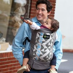 Boba Baby Carrier in Vail | The Original Soft-Structured Infant Carrier | Gray, white, black, blue dad-friendly carrier print.