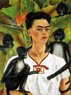 Frida Kahlo: Self-Portrait with Monkeys, 1943 - self-portraiture, documentation, diary, autobiographical, present, past