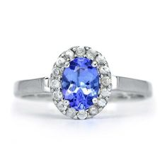MARVELOUS 7x5mm Natural Blue Tanzanite Ring With White Zircon in 925 Silver #Multajewelry #SolitairewithAccents