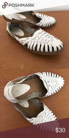 White Leather Woven Sandals Great pair of women's vintage white woven leather huarache sandals made in Brazil. rounded toes, flat heels, thin lightly textured flexible rubber soles, smooth brown insoles and made of a soft woven white leather. A little worn as shown in pictures... Shoes Sandals