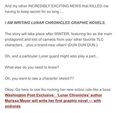Marissa Meyer is creating GRAPHIC NOVELS set after events in the lunar chronicles books, with Iko as the protagonist:D