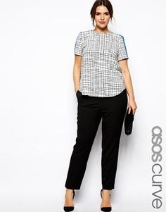 ASOS CURVE Cigarette Pant With Zip Detail