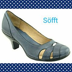 """Sofft Cara Navy French Piping pump baby doll toe New the box Sofft - the Cara style pump. The color is a Navy Blue.  Featuring a gorgeously tailored silhouette with a rich, refined look perfectly suited for year-round wear. This tailored pump is made from soft, supple leathers, and has a stacked heel design and signature Sofft French piping, rounded baby doll toe with cut outs, leather lining and insole. Stacked heel height of about 2 1/2"""". Man made outsole. Sofft Shoes Heels"""
