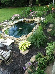 Homemade pond..looks just like my new birthday pond!!!  :)  Great job to my hubby and family.