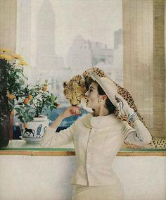 cheetah - Harper's Bazaar, February 1958 Mary Jane is wearing a tan and cream hounds-tooth wool suit, by Hattie Carnegie. photo by Gleb Derujinsky
