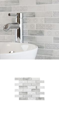 A mix of patterned and stone effect pieces, these Stesso Dove Texture Mix Mosaic Tiles are made from glass. Use them to transform any wall space in your home. White Mosaic Tiles, Hexagon Mosaic Tile, White Wall Tiles, Stone Mosaic Tile, Mosaic Glass, Wall Tile Adhesive, Border Tiles, Kitchen Walls, Wall Spaces