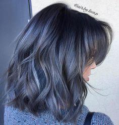 Bob with Fuchsia Streaks - 40 Two Tone Hair Styles - The Trending Hairstyle Ash Blue Hair, Grey Ombre Hair, Hair Color Blue, Cool Hair Color, Silver Blue Hair, Denim Blue Hair, Aesthetic Hair, Dye My Hair, Hair Highlights