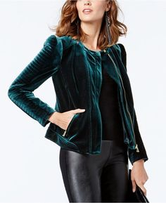INC International Concepts Petite Velvet Moto Jacket, Created for Macy's