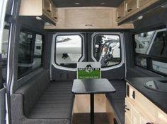 Dinette w/overhead cabinets & kitchen Sprinter Camper Conversion, Camper Van Conversion Diy, Sprinter Van, Vw T5 Interior, Campervan Interior, Interior Ideas, Lance Campers, Van Dwelling, Van Design