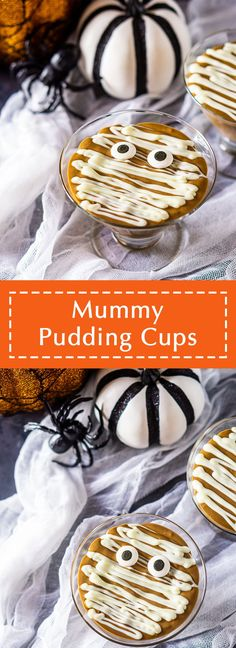 Need an idea for some Halloween party food? These mummy pudding cups are the perfect Halloween dessert, and they're super simple to make. These Halloween pudding cups are made with a homemade chocolate pudding, and everyone is guaranteed to go crazy over this mummy themed dessert. #mummypuddingcups #halloweenpuddingcups #halloweenpartyideas #halloweenpartyfood #halloweendesserts #mummythemedfood #mummyfoodhalloween Halloween Dessert Table, Halloween Food For Party, Halloween Desserts, Fall Desserts, Halloween Tricks, Eid Food, Diwali Food, Thanksgiving Dinner Recipes, Holiday Recipes