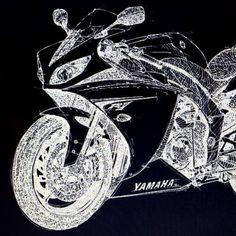 Yamaha R1 handmade drawing. More at...