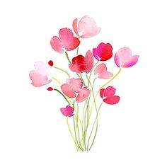 Handmade Watercolor Bouquet of Tulips in Pink- 8x10 Wall Art... ($20) ❤ liked on Polyvore featuring home, home decor, wall art, flowers, watercolour flower paintings, watercolor flower painting, matte painting, watercolor painting and flower wall art