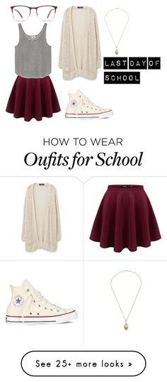 """Last Day Of School"" by go-with-the-flow-12 on Polyvore featuring Violeta by Mango and Converse"