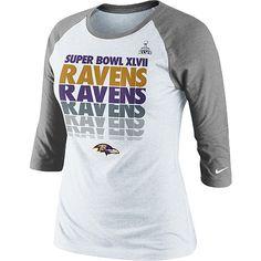 Yes please Women's Nike Baltimore Ravens Super Bowl XLVII 3/4 Sleeve Blockbuster Raglan Sleeve T-Shirt - NFLShop.com