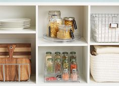 White kitchen shelf storage