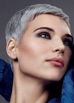 Short Layered Haircut in Silver Hair Color ...