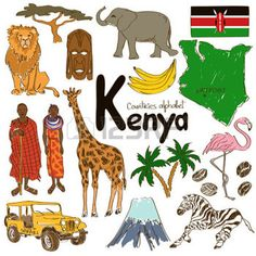 Fun colorful sketch collection of Kenya icons, countries alphabet photo