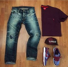Outfit grid - Distressed jeans, Nikes