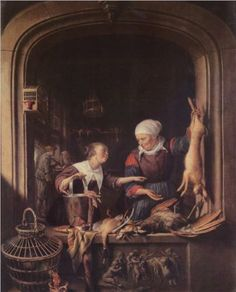 A Poulterer's Shop, by Gerrit Dou (Dutch, 1613-1675)