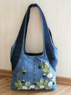 cute bag made of denim and embroidered   Сумка джинсовая с вышивкой лентами Днепропетровск - изображение 2