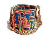 "Authentic Crochet Wayuu Mochilas ~ Handmade by the Wayuu Indigenous. Crossbody 11""H x 9""W ~ 20"" strap drop ~ FREE US Shipping ~ wybag-d-77"