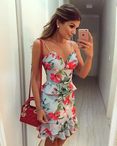 Online Shopping For Floral Ruffle Day Dresses, Casual Dresses, Short Dresses, Summer Dresses, Cool Outfits, Fashion Outfits, Dress To Impress, Spring Outfits, Dress Skirt