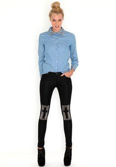 Studded Cross Detail Jeans  #MGwinterwardrobe