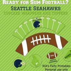 Seattle Seahawks Cupcake Wrappers and by RIAsPartyPrintables, $5.00
