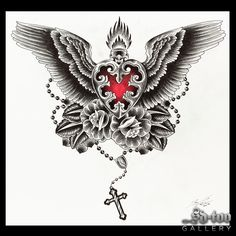 """""""Sacred Heart"""" Giclee 18x18"""" Art print. Original pencil on cocquil done by Tonya Van Parys at The Tattoo Room in Los Angeles, CA. Printed on: Cold Press Rough Textured Natural White 315gsm IFA 13 Inno"""