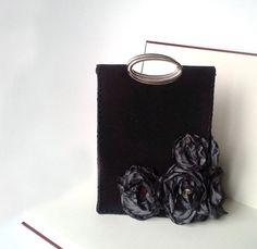 Felt bag taffeta flower black bag women bag by agnieszkamalik, zł210.00