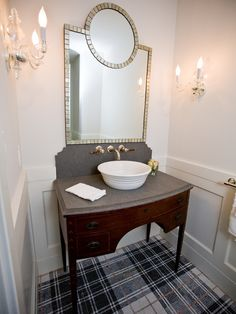 Decorating, Traditional Bathroom With Black And White Plaid Carpet Also Classic Bathroom Vanity Design With Gray Marble Countertop And White Comely Washbowl Also Unique Bathroom Mirror Design And Lovely Wall Lights: Plaid Carpet and Any Other Plaid Products