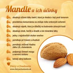 Infografika - mandle a ich účinky. Máte radi mandle? Obsahujú množstvo zdraviu prospešných látok, ktoré pomáhajú udržať si zdravie a zdravú hmotnosť.